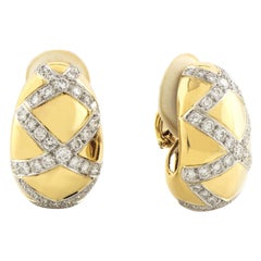 18 Karat White and Yellow Gold Dome Crisscross Clip-On Earrings