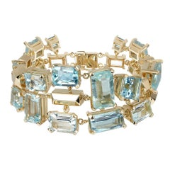 18ct Yellow Gold and Aquamarine Gemstone Cuff Bracelet