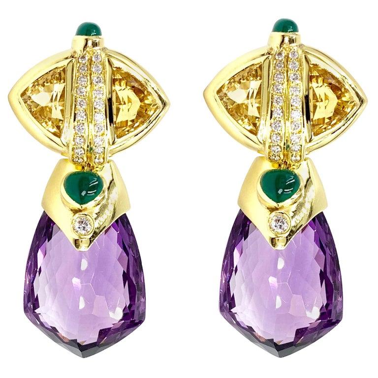 14d441cef5f2a 18 Karat Amethyst and Multi-Stone Drop Earrings