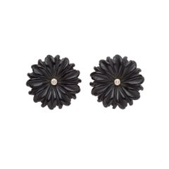 18 Carat Yellow Gold, Diamond and Hand Carved Onyx Daisy Flower Earrings