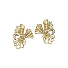 French Gold Ribbon Earrings with Diamonds