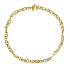 French 1960s Retro 18 Karat Yellow Gold Chiselled Navy Mesh Necklace
