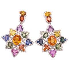 Ruchi New York Multi-Color Sapphire Star Chandelier Earrings