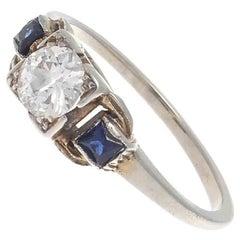 Art Deco Diamond Sapphire Gold Engagement Ring