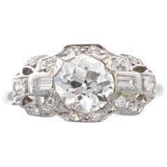 Art Deco GIA Diamond Platinum Engagement Ring