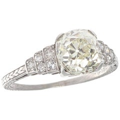 Art Deco 2.60 Carat Diamond Platinum Engagement Ring