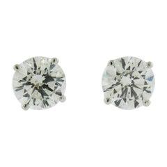 GIA Certified 2.00 Carat Diamond 18 Karat White Gold Stud Earrings