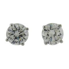 GIA Certified 1.76 Carat Diamond 18 Karat White Gold Stud Earrings
