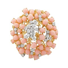 14 Karat Yellow Gold Angel Skin Coral with Diamonds Modern Brooch