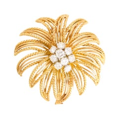 1950s Boucheron Paris Diamond Gold Flower Brooch