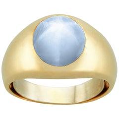 Men's 14 Karat Yellow Gold Star Sapphire Dome Ring