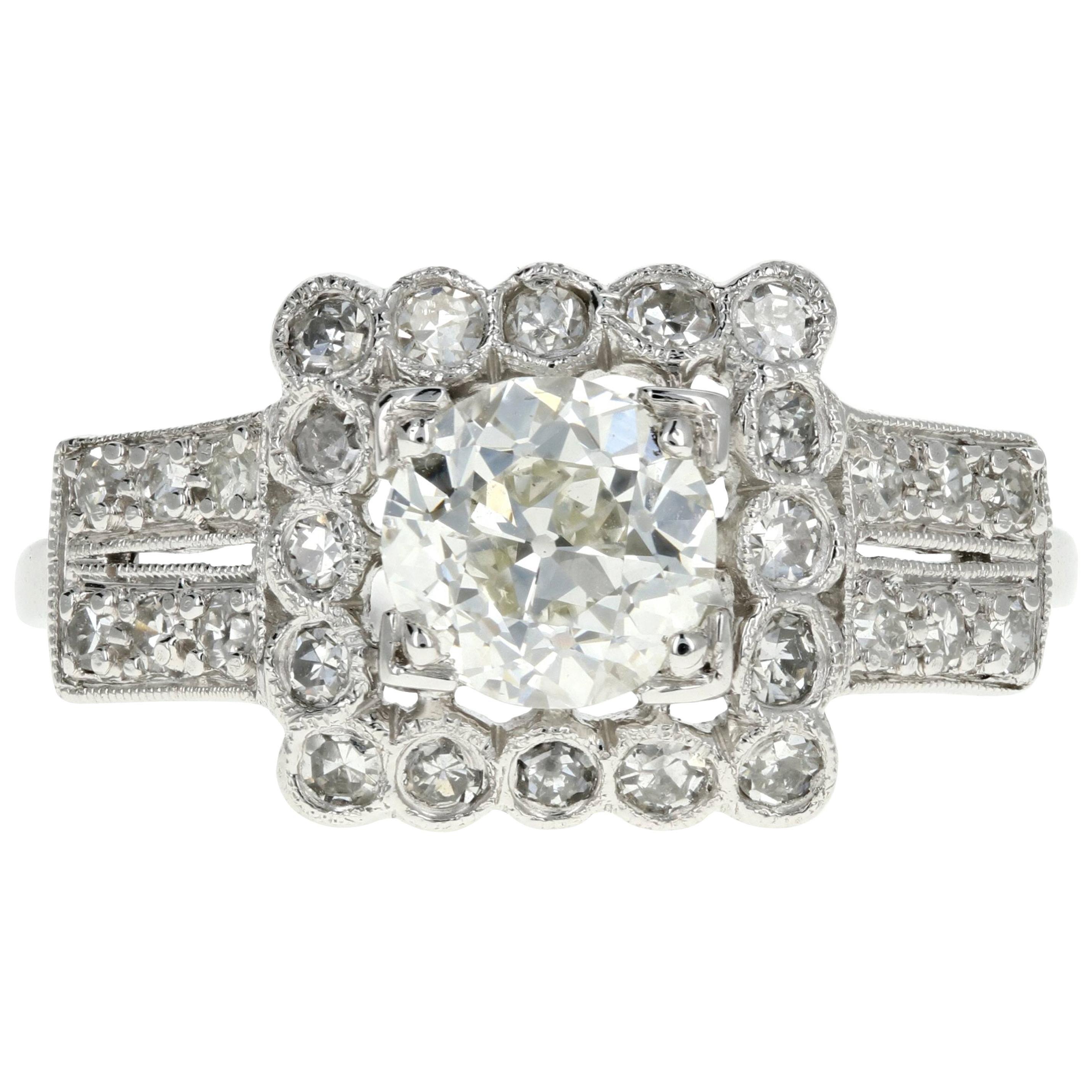 Art Deco Platinum .89 Carat Old European Cut Diamond Engagement Ring