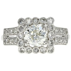 Art Deco Platinum .89 Carat Old European Cut Diamond Engagement Ring