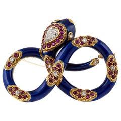 Nardi Blue Enamel Snake Brooch