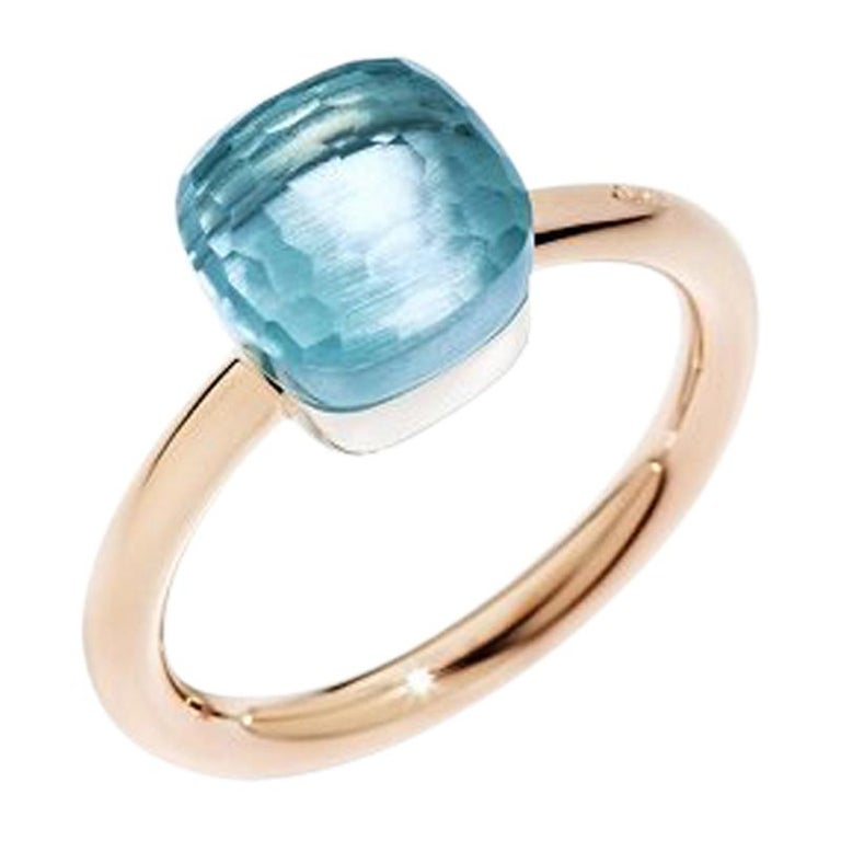 Pomellato Nudo Petit Ring with Blue Topaz, 18k Rose and