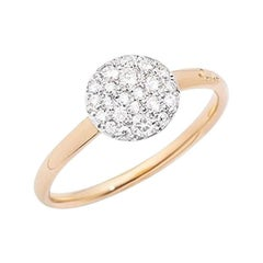 Pomellato Sabbia Ring in Rose Gold with Rhodium-Plated Rose A.B407-O7-B9
