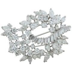 Midcentury Diamond Gold Brooch