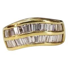 18 Karat Yellow Gold 2-Row Diamond Baguette Channel Set Ring
