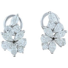 Diamond Gold Flower Cluster Earrings