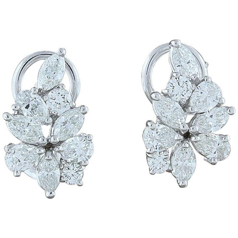 Diamond Gold Flower Cluster Earrings For Sale
