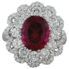 Rubelite Tourmaline Diamond Gold Ring