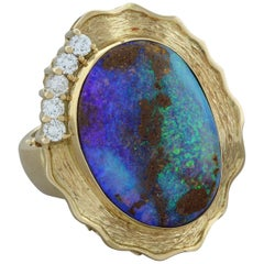 Boulder Opal Diamond Gold Ring