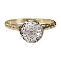 "14 Karat Yellow and White Gold Vintage Art Deco ""Rose"" Cut Diamonds Ring"