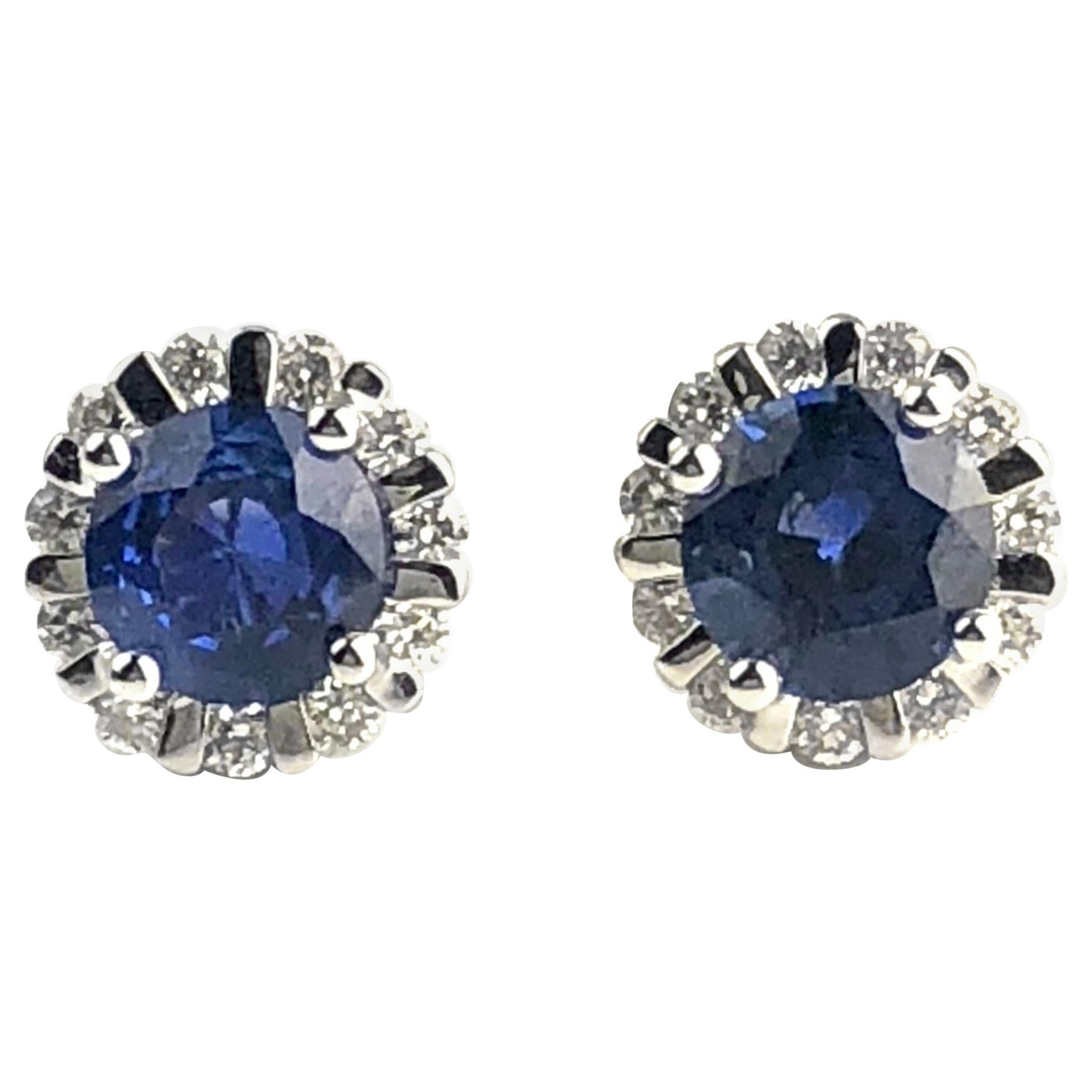 DiamondTown 1.85 Carat Round Blue Sapphire Earrings in Diamond Halo in 18K Gold