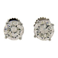GIA Certified 3.55 Carat Diamond 18 Karat White Gold Stud Earrings