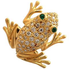 Diamond and Emerald Frog Pin in 18 Karat Yellow Gold