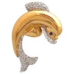 Diamond and Sapphire Dolphin Pin in 18 Karat Yellow Gold