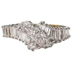 14 Karat Yellow Gold Diamond Baguette and Round Set Ring