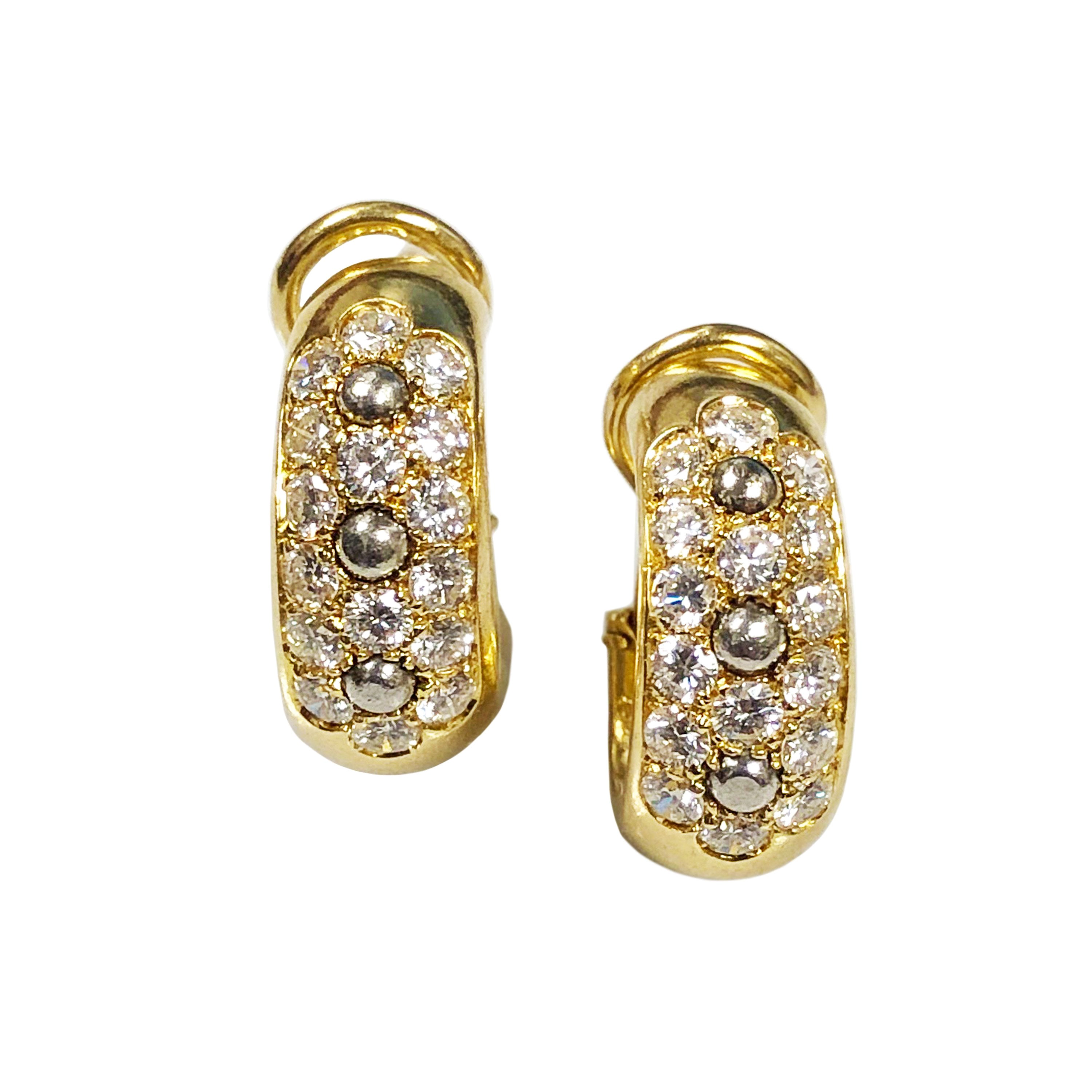 Cartier Yellow Gold and Diamond Hoop Earrings