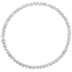 All GIA Certified 60.61 Carat Round Diamond Tennis Necklace