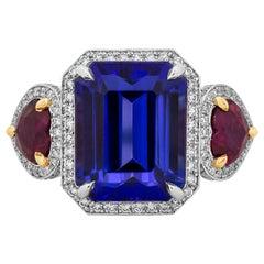 7.11 Carat Tanzanite, Ruby and Diamond Three-Stone Cocktail Ring