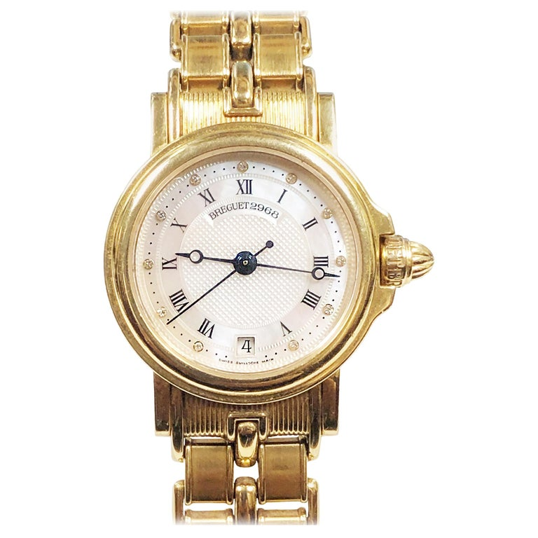 e24c7aacb4d Breguet Marine Yellow Gold Ladies Automatic Pearl and Diamond Dial Wrist  Watch For Sale