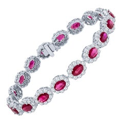 10.69 Carat Total Weight Oval Cut Natural Rubies and 5.13 Carat Diamond Bracelet