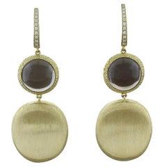Smoky Quartz Diamond Gold Drop Earrings