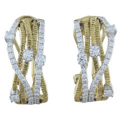 Diamond Two-Tone Gold Earrings