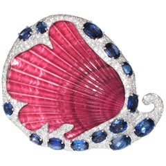 Unique Diamond and Blue Quart Shell Brooch Pin