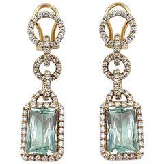 Piero Milano 18 Karat Rose Gold Aquamarine and Diamond Dangle or Drop Earrings