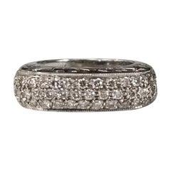 """14 Karat White Gold Diamond """"Raised-Domed"""" Ring"""