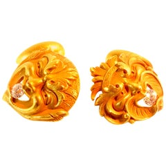 Antique Heavy Diamond Gold Mask Cufflinks, circa 1880