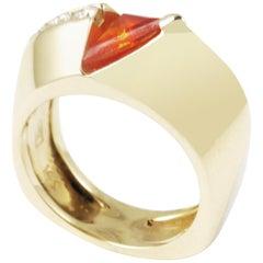 Orange Flare, Fire Opal Diamond 14 Karat Yellow Gold Contemporary Art Ring