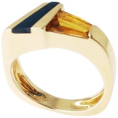 Asummertria- Citrine Onyx 14 Karat Yellow Gold Contemporary Modern Ring