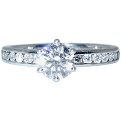 """Tiffany & Co. Diamond, Certified Triple """"X"""" 'Excellent' Platinum Ring"""