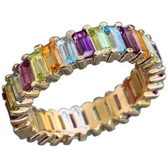 5.5 Approximate Carat Colored Rainbow Gemstone Baguette Eternity Band Ben Dannie