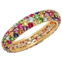 2.5 Apprx Carat Colored Rainbow Gemstone Round Pave Eternity Band, Ben Dannie