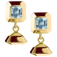 18 Carat Yellow Gold Vermeil and Blue Topaz Drop Earrings