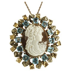 Cameo, Blue and Yellow Topazes, Diamonds, 9 Karat Gold and Silver Pendant/Brooch